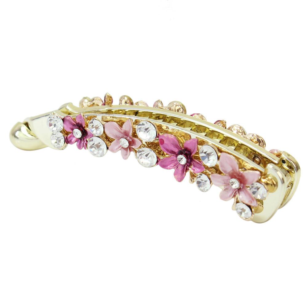 2016 New Elegant Women Crystal Rhinestone Flower Banana Hair Clip Ponytail Barrette Jewelry Hairpins Headwear Hair Accessories(China (Mainland))