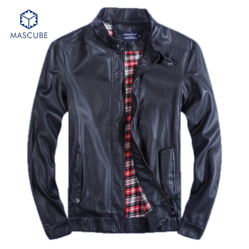 Fashion New Men's Casual Wear Top Man PU Leather Collar Mens Coats Personalized Clothes Man Jacket Plus Size M-5XL Black Brown(China (Mainland))