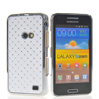 Free shipping Luxury Plated metal edge Bling diamond star hard case cover for Samsung Galaxy Beam I8530 mobile phone cover case