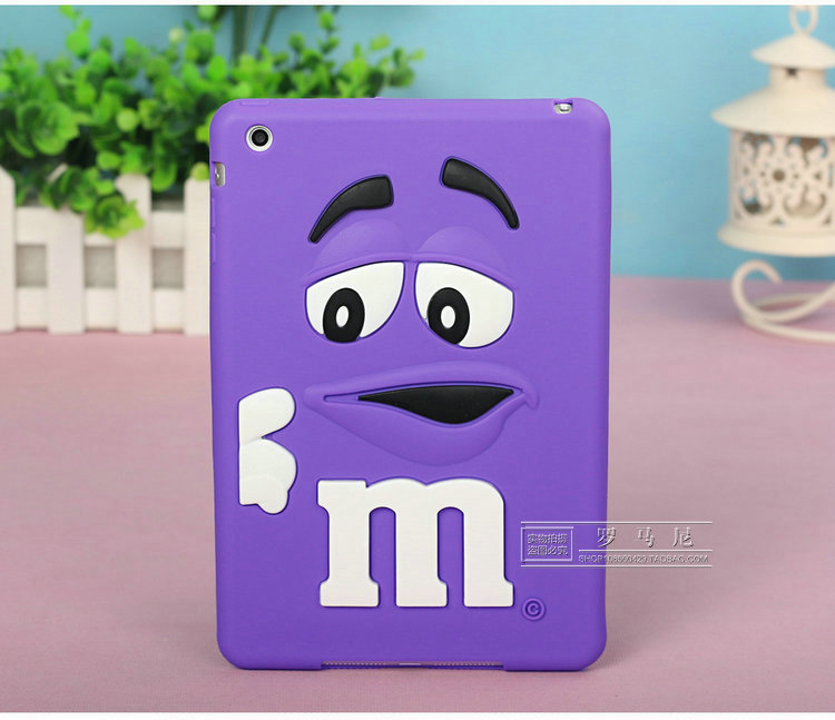 3D Cute cartoon M M Chocolate Bean Candy Rubber Silicone Cases For iPad Mini 1 2