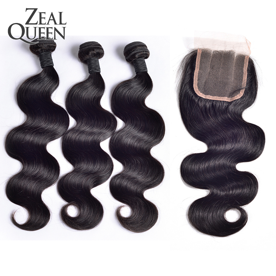Peruvian Virgin Hair Body Wave With Closure 4 Pcs Peruvian Silk Base Closure Body Wave Queen Hair Products With Closure Bundle