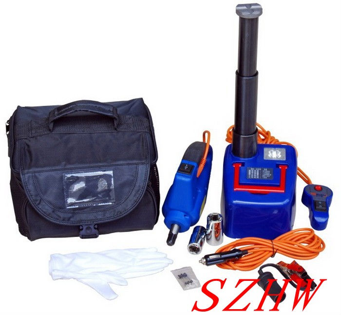 Car hydraulic jack with LED Light + Electric wrench, Max top-heavy 1200KG Min/Max height: 170/410MM, 350N.m Max torque fast ship