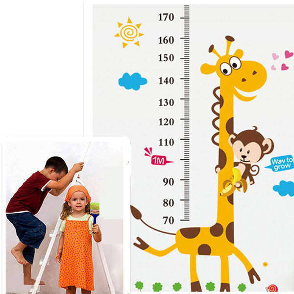 Hot Selling Giraffe Children Room Decor Wall Stikers Kindergarten Height Growth Chart Kids DIY Sticker Rooms/Home Decoration(China (Mainland))