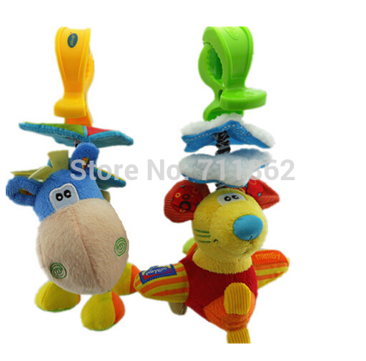 1 piece bed/car hanging rattles pull shock little donkey/mouse baby toy(China (Mainland))