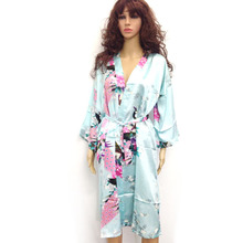 10 Colors Plus Size 3XL Womens Floral Sleepwear Satin Bridesmaid Nightgown Dress Japanese Kimono Robes D151(China (Mainland))