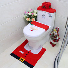 2016 Santa Claus Toilet Seat Cover Sets Christmas Gift Bathroom Set Bath Mat Rug Lid Paper Holder Decorations - Mega Flash Store store