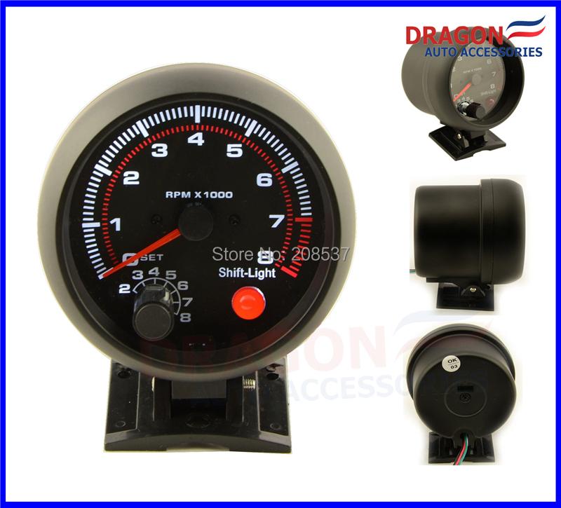 "Free Shipping 3.75"" ELECTRICAL BLACK TACHOMETER RPM GAUGE /AUTO GAUGE/BLACK RIM WITH SHIFT LIGHT 4-6-8 CYL(China (Mainland))"