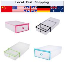 5Pcs Foldable Double Storage Box Shoes Organizer Case Drawers Plastic Shoes Storage Shoe Box