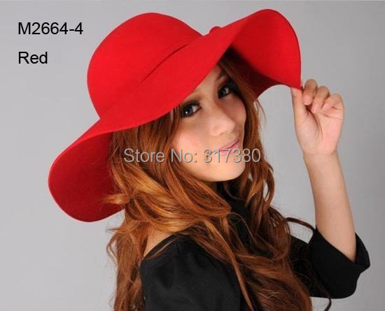 Wholesale 6pcs Women Winter Wide Brim Wool Hats Ladies Floppy Wool Felt Caps Bucket Hat Womens Autumn Fedora Cap Spring Cloche