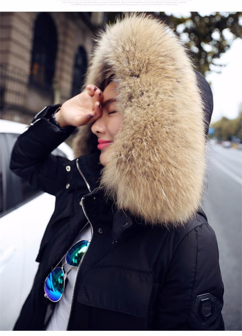 Скидки на 2016 зимние женщин Новый пуховик длинные участки Тонкий тонкий хлопок с капюшоном толстый слой воротник Надьмарош пальто зимнее большой размер