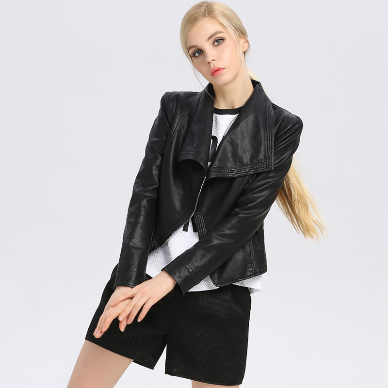 2015 brand Luxury Faux Leather Women coat Designer spring slim leather motorcycle PU jackets BJ14C8002