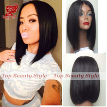 Fashion Free Shipping Silky Straight Short Cut Bob Wigs With Baby Hair Heat Resistant Synthetic Lace Front Wig For Black Women(China (Mainland))