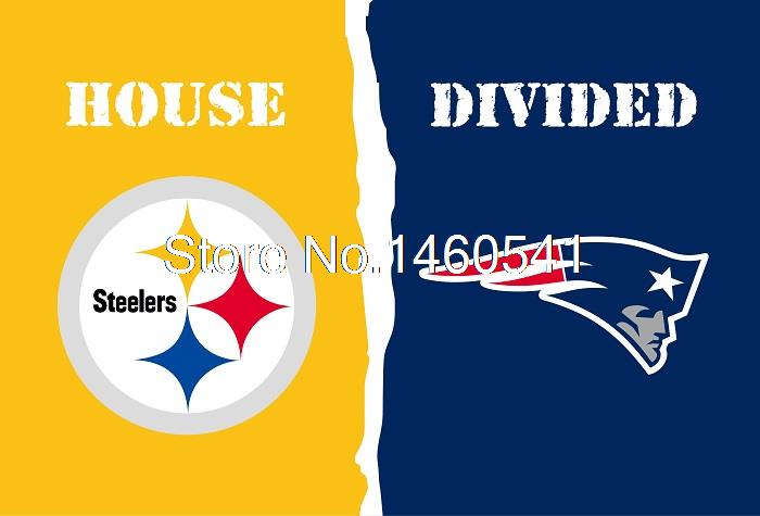 Pittsburgh Steelers England Patriots House Divided Flag 3ft x 5ft Polyester NCAA Banner Flying Size No.4 144* 96cm Custom flag(China (Mainland))