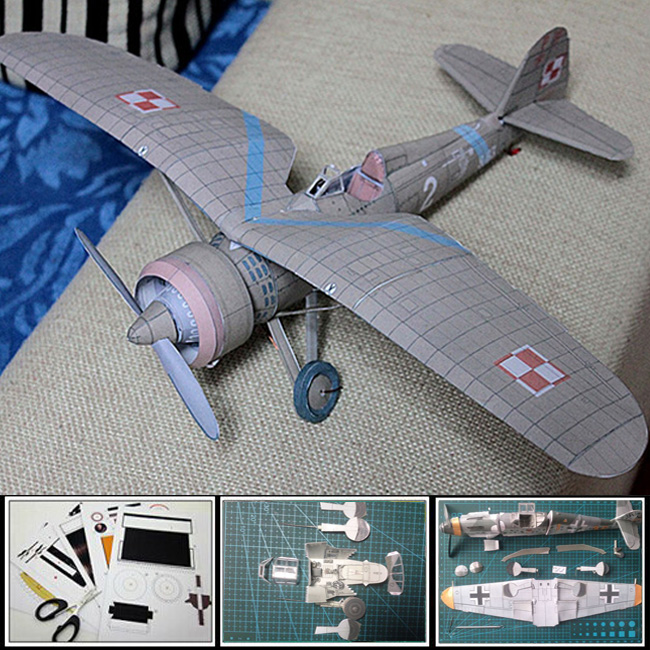 Free shipment 2016 Paper Model Airplane 1:24 scale Poland Fighter PZL P-11 seagulls fighter 3d puzzles diy model Papercraft(China (Mainland))