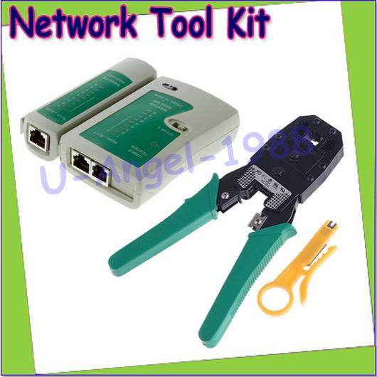 Wholesale RJ45 RJ11 RJ12 CAT5 LAN Network Tool Kit Cable Tester Crimp Crimper Plug Pliers Drop free shipping