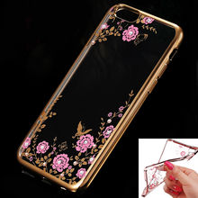 For iPhone 5 Case 4.0 Ultra Thin Transparent Flowers Diamonds Crystal TPU Case For iPhone 5s SE Protective Shockproof Cover(China (Mainland))