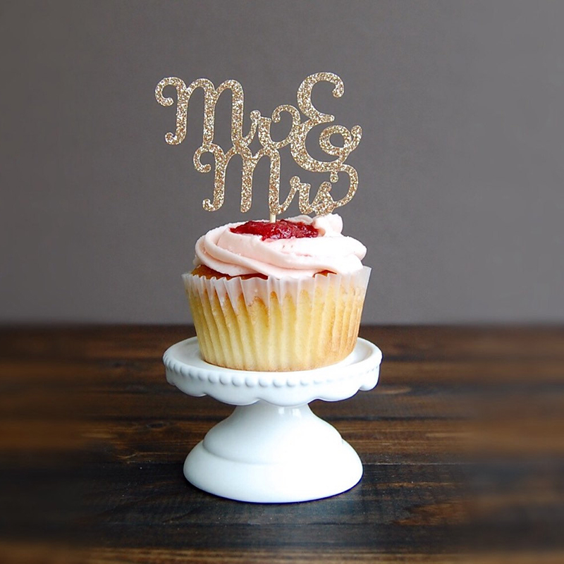 20pcs mr mrs bridal shower decorations wedding cupcake for Cupcake home decorations