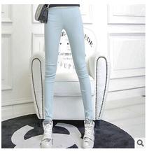 Hot sale Women's Plus Size S-XL Summer Slim waist candy color stretch Leggings capris fashion Pencil pants Crops For Female