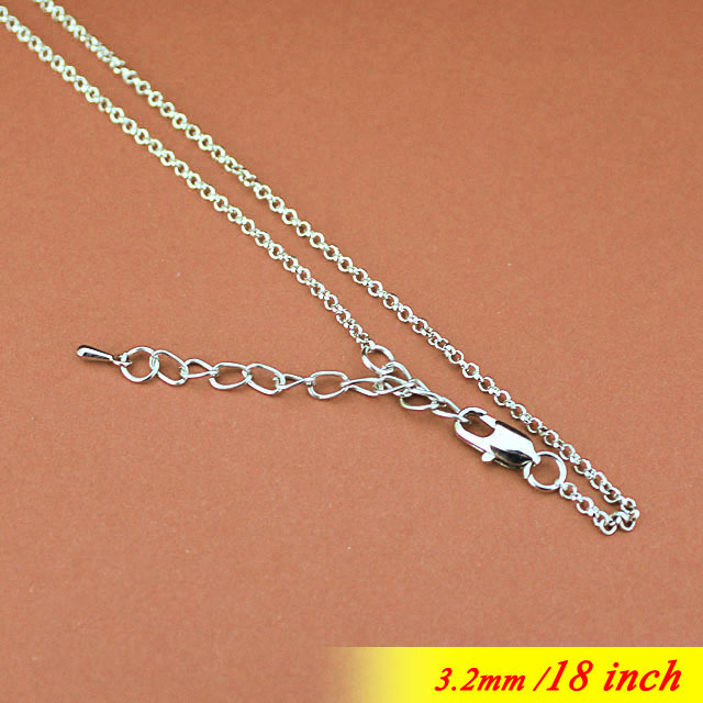 Rhodium Tone 3.2mm Circle Rolo Metal Jewelry Links With Square Clasps 5cm Extender 18 Fashion Neckalce Chains For Pendants<br><br>Aliexpress