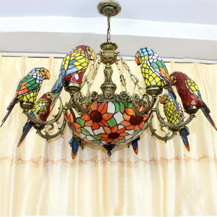 parrots shape tiffany chandelier european vintage classical glass suspension light bar cafe hanging lamp pendientes lustre - Tiffany Chandelier