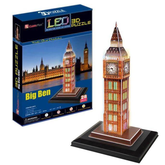 T0463 3D Puzzles London Big Ben with LED lights Building Paper Model Creative gift Children Educational toys hot sale<br><br>Aliexpress