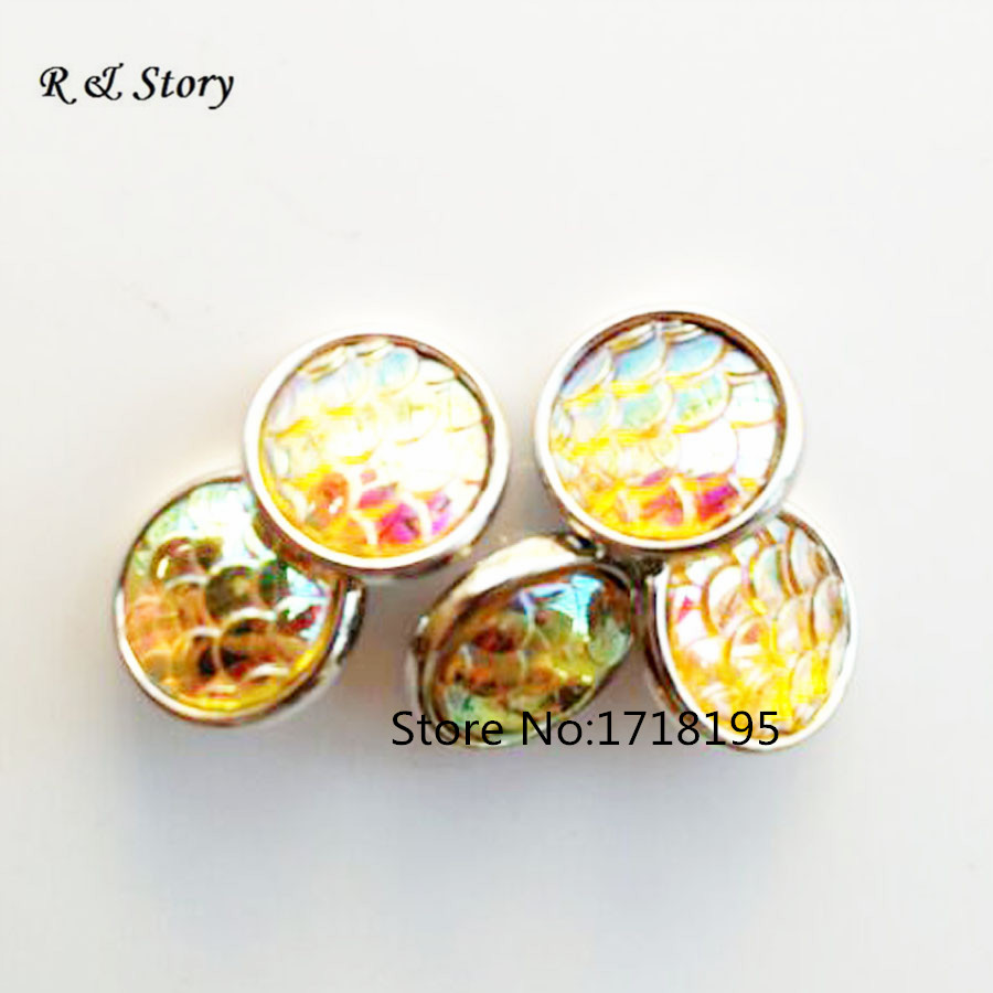 2015 New Yellow Scales Pattern Snap Buttons Fit Snap Bracelet 12mm SB_451