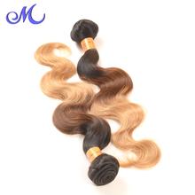 Grade 7A Indian Virgin Hair Body Wave Ombre 3 Tone Weave Ombre Indian Hair Extensions 1B/4/27# Ombre Human Hair Weave 4 Bundles