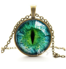 2015 Vintage Jewelry Wholesale Blue Green Cat Eye Necklace Pendant Fashion Charming Rhinestone Ethnic Necklace for