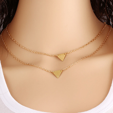Fine Jewelry Geometric Triangle Leaves Alloy Gold Plating Multilayer Chains Necklace Pearl Bead Sequins Necklaces For