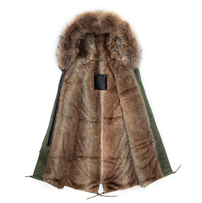 Korean design long style faux beaver rabbit lined & real collar army green coats brown fur jacket men(China (Mainland))