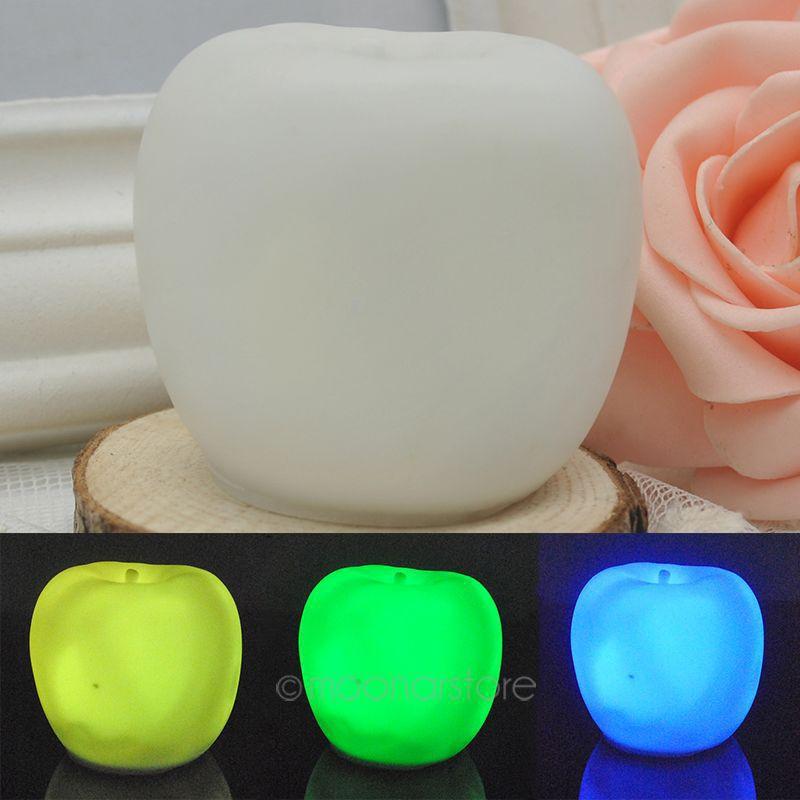 Colorful Apple-Shaped Night Lights Small Table Lamp Energy Saving Night Light Cartoon Wall Bedside Desk Sleeping Lamp JJ0068(China (Mainland))