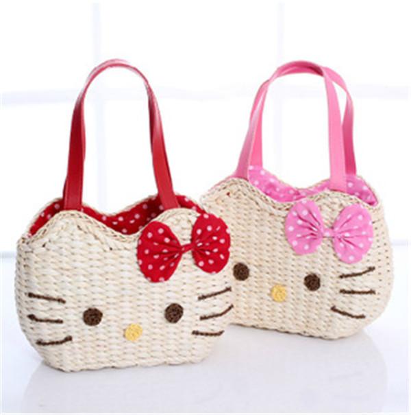 Hot Style Hello Kitty Corn Husk Bag/6 Colors Cartoon Straw Beach Bag/Women Fashion Brand Bow Handbag/Woven Shopping Bags(China (Mainland))