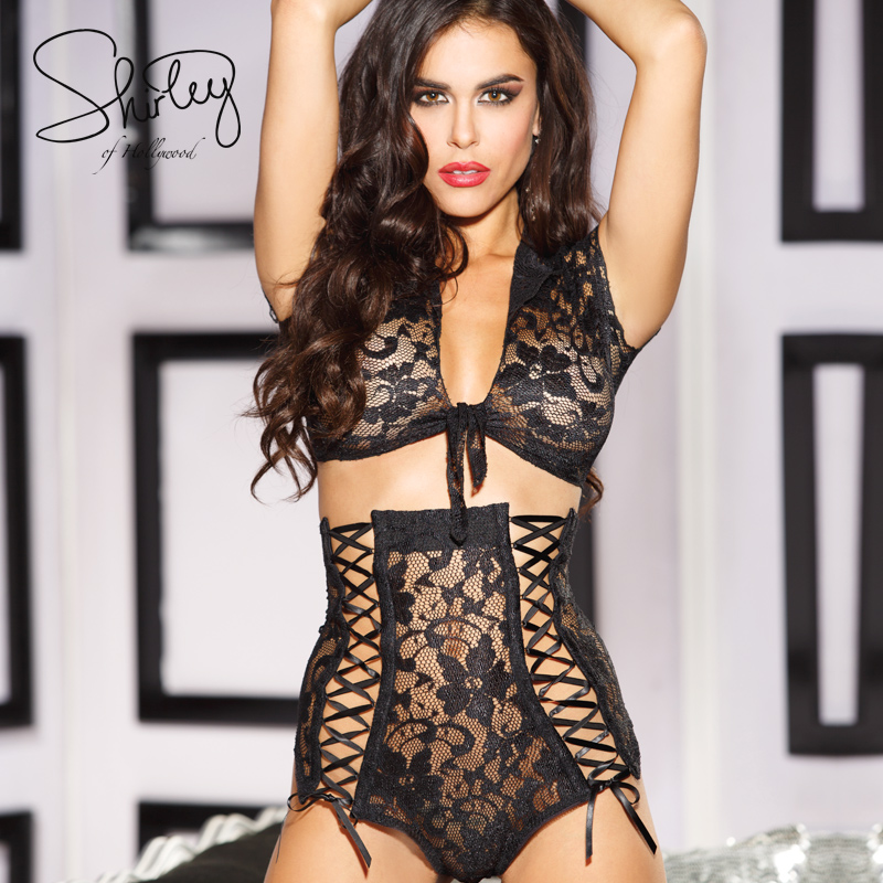2016 hot Sexy lingerie black lace temptation perspective three point bikini erotic lingerie sexy costumes sexy underwear women(China (Mainland))