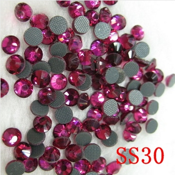 288pcs/Lot,fuchsia,ss30(6.4-6.6mm) glass hot fix dmc rhinestones , garments hot fix products free shipping(China (Mainland))
