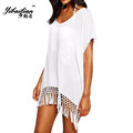 Sexy Easy Women Casual Out Turquoise Loose V Neck Beach Dress Summer Wearring Cool Thin Tassel
