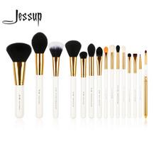 Jessup Pro 15pcs Makeup Brushes Set Powder Foundation Eyeshadow Eyeliner Lip Brush Tool White and Gold(China (Mainland))