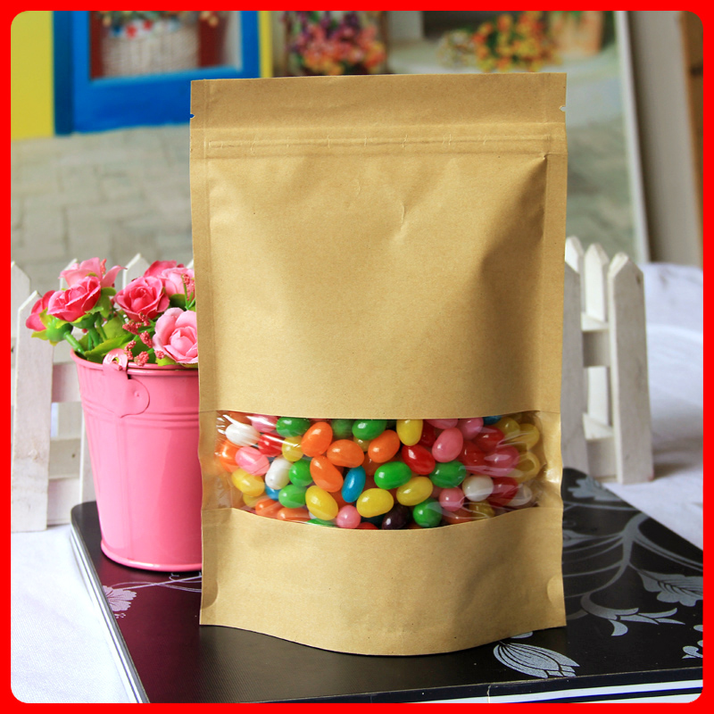 100pcs/lot 16cm*26cm+4cm Bottom *140mic High Quality Food Kraft Paper Bags With Window Stand Up With Zipper Bags(China (Mainland))
