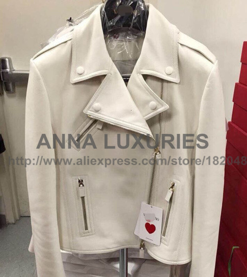 20150 Pre fall VALENTINOS White Black peach love hearts Streetwear PU Coat  Haute Couture free shippingОдежда и ак�е��уары<br><br><br>Aliexpress