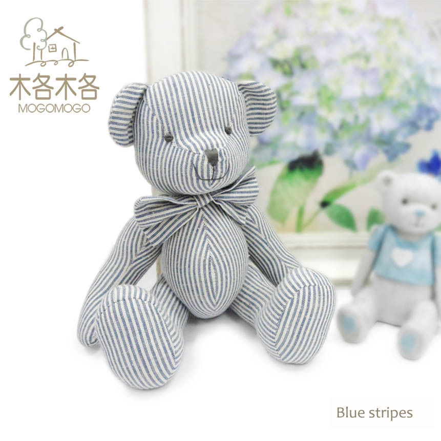 100% hand-made 35cm high quality blue striped pattern design teddy bear plush toys(China (Mainland))