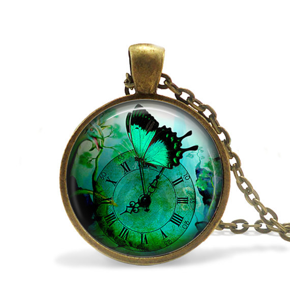 (3 pieces/lot) Blue Butterfly pendant Steampunk Clock Necklace Steampunk Butterfly Watch Clock jewelry Steampunk Garden necklace(China (Mainland))