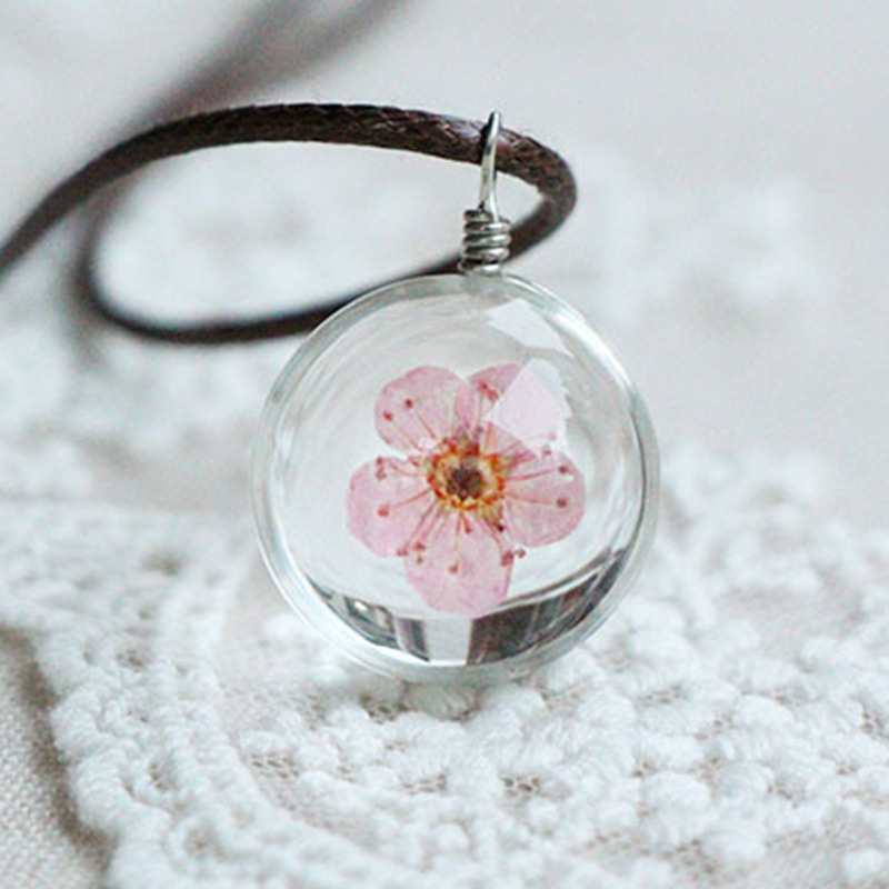 punk style Glass Bottle Peach blossom Leather Chain Necklace Boutique Flower Pendant necklace Jewelry Women - CM Seedings store