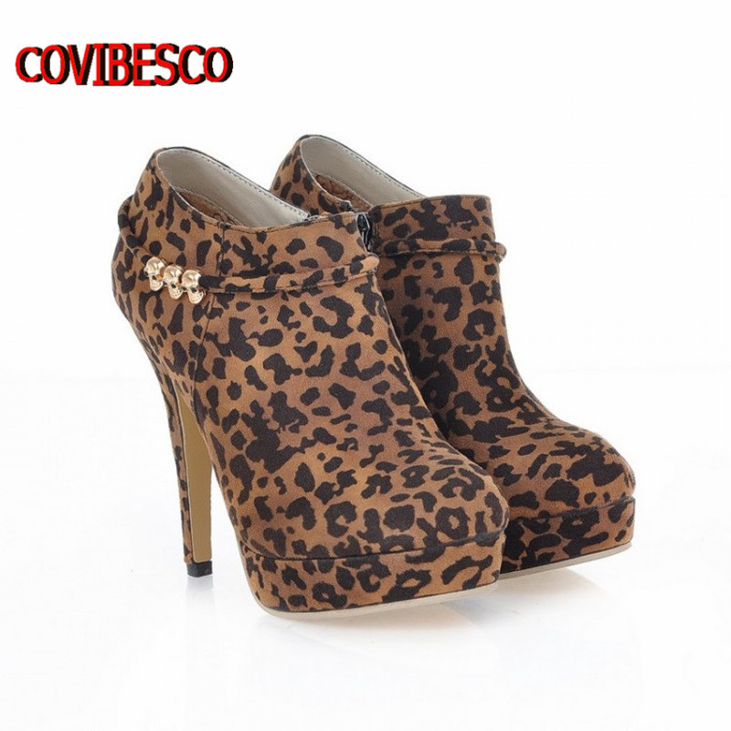 New leopard pumps,women high heels sexy leopard pointed toe spring shoes pumps ankle boots free shipping(China (Mainland))