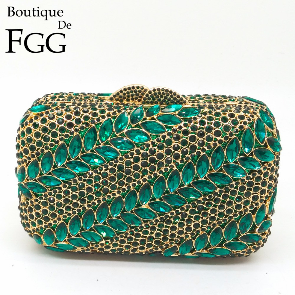 Women Mini Green Leaves Rhinestones Crystal Evening Wedding Cocktail Box Clutch Handbag Purse Golden Metal Hardware Clutches Bag(China (Mainland))