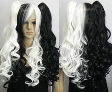new woman multi color long curly cosplay full wig + wig pigtail @4    Synthetic fibre hair wigs