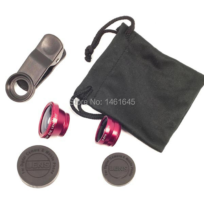 DHL!  3 In 1 Universal Clip Mobile Phone Lens Wide Lens + Macro Lens + 180 Fish Eye Lens for  iPhone Samsung  all mobile phones