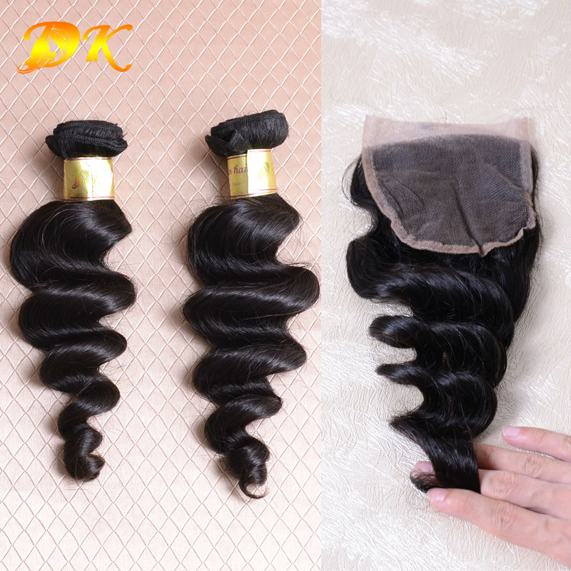 Malaysian Loose wave Virgin Remy Hair Beauty Hair Products 1Pc Lace Closure Mixed With 3bundles Grade6A Hair Weave Free Shipping<br>