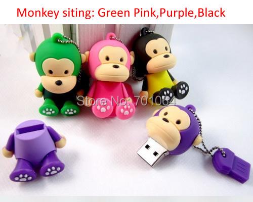 Free Shipping : 50pcs Siting lovely Monkey usb flash drive 4GB 8GB 16GB 32GB memory stick(Hong Kong)