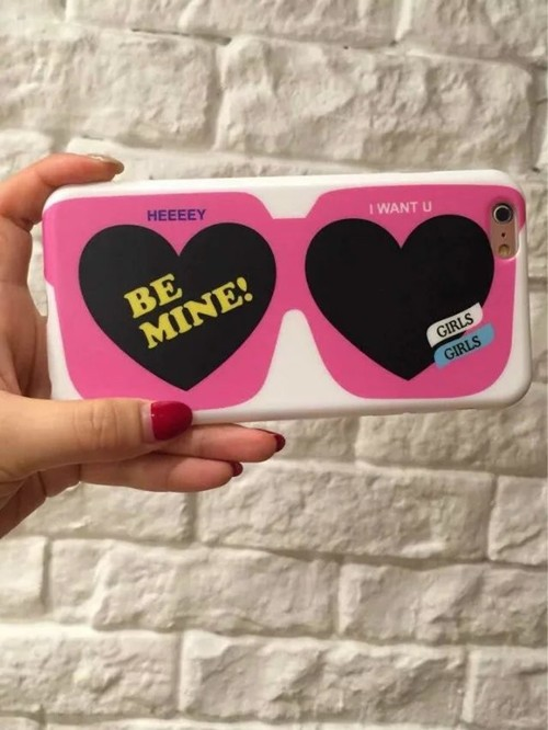 New Arrival Cartoon Lovely Pink Heart Glasses Phone Case for iphone 6 6S 6 plus cell phone cover shell Free Shipping
