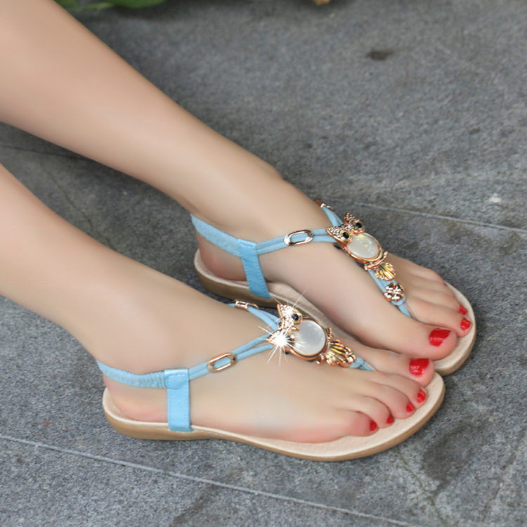 Promotions Sandals women Fashion casual sweet diamond beaded pinch flat sandals bohemia sandals female sandals Size: 35-40<br><br>Aliexpress