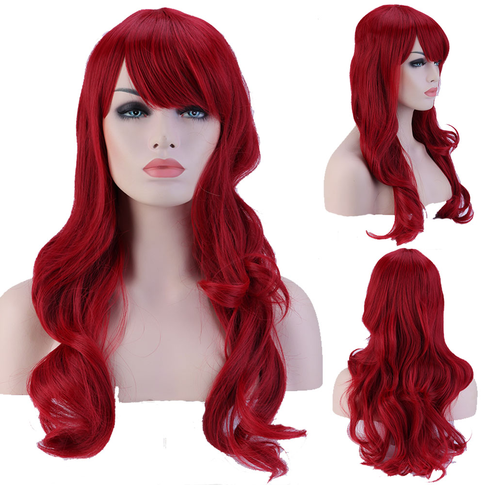 """19"""" 48cm Full Head Curly Dark Red Wigs Heat Resistant Synthetic Hair Wig for Women Daily/costume Party/cosplay(China (Mainland))"""